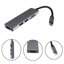 Thunderbolt 3 hub usbc Dock USB Type C to HDMI USB3.0 cable TF SD Card 5IN1 Adapter Splitter for Macbook Pro 2017 Dell XPS 13
