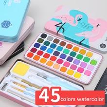 45 Colors Solid Pigment Watercolor Paints Set With Pencil Portable Brush Pen For Professional Painting Art Supplies