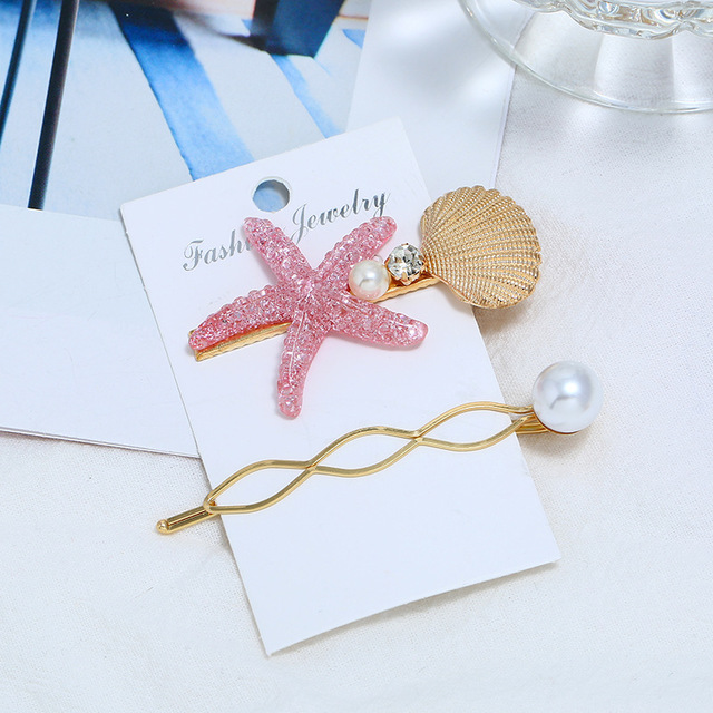 2/3pcs Summer Beach Shell Metal Hairpins Fashion Pearl hairgrip Mermaid Starfish HairClips Women Hair Accessories Adult   Headwear