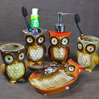 Bathroom Suit Accessories Owl Ceramic Soap Dispenser Cup Dish Toothbrush Holder Set Gift Bath Family Essential Kit Tools