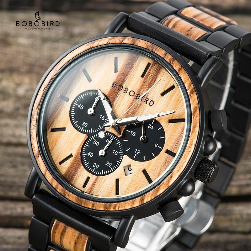 Relogio Masculino BOBOBIRD Watch Men Business Wristwatches Date Show Chronograph Timepieces Erkek Kol Saati In Gift Box P09-1