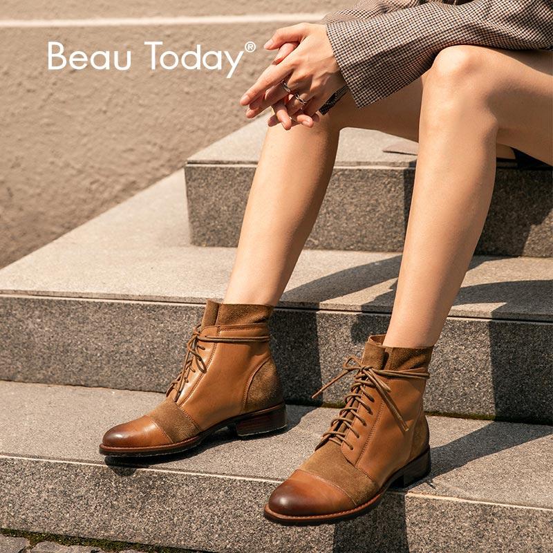 Botas de tobillo BeauToday para mujer cuero genuino de vaca diseño de empalme Otoño Invierno vaca gamuza señora moda botas hecho a mano 03636
