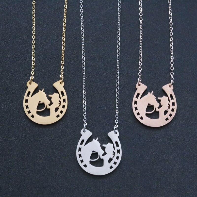 Ожерелье с подвеской в виде лошади из нержавеющей стали