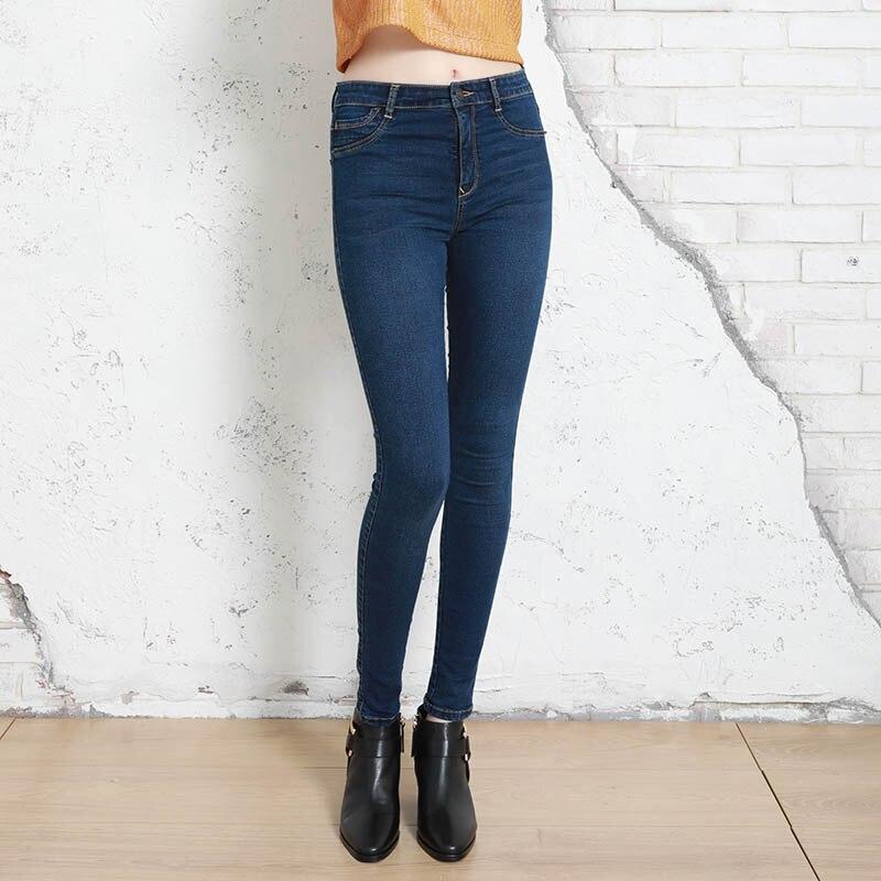 Autumn Winter Women Denim Skinny Pants Super Stretch Fake Front Pocket Waist  Blue Grey Black White Slim Elastic Lady Jeans