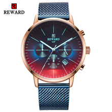 REWARD Fashion Mens Watches Top Luxury Brand Blue Dial Quartz Watch