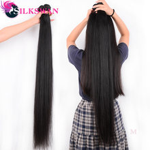 Silkswan 32 34 36 38 40 Inch Straight Menselijk Haar Bundels 3 4 Stuks Remy Hair Extension Braziliaanse Hair Weave bundels(China)