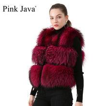 ピンクjava QC19091新着ホット販売の女性の毛皮のコート本物のアライグマの毛皮のベストジレショートベスト厚いふわふわ毛皮コート