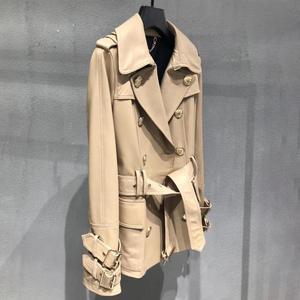 Image 2 - Genuine real leather jacket sheepskin short trench coat women 2019 new fashion double breasted england style windbreaker