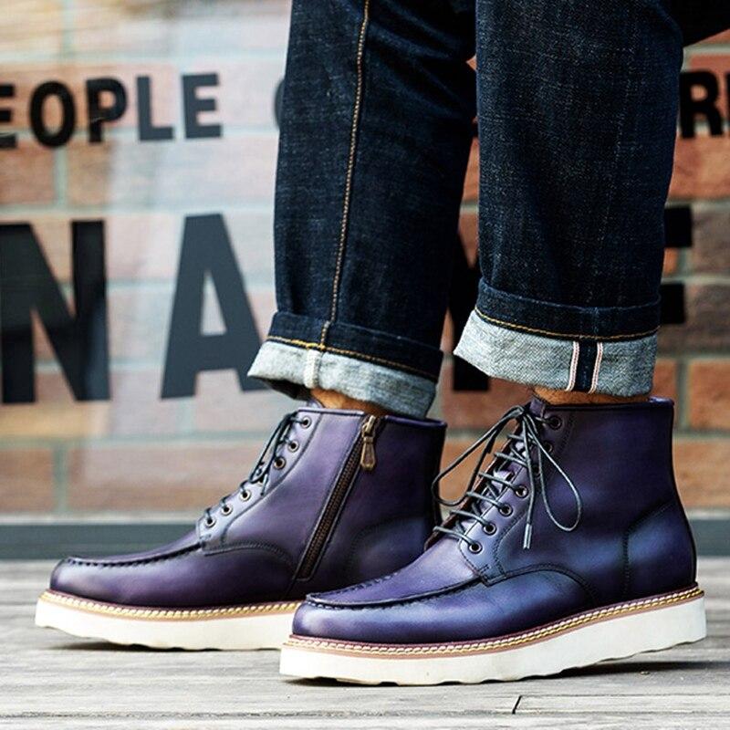 Новинка; модная мужская удобная обувь на шнурках ручной работы из натуральной кожи с круглым носком; мужская обувь на плоской платформе; бот... - 5