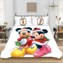 Christmas Mickey Cartoon King-Full Size Soft Bedding set Bedclothes Include Duvet Cover Pillowcase Print Home Textile Bed Linens
