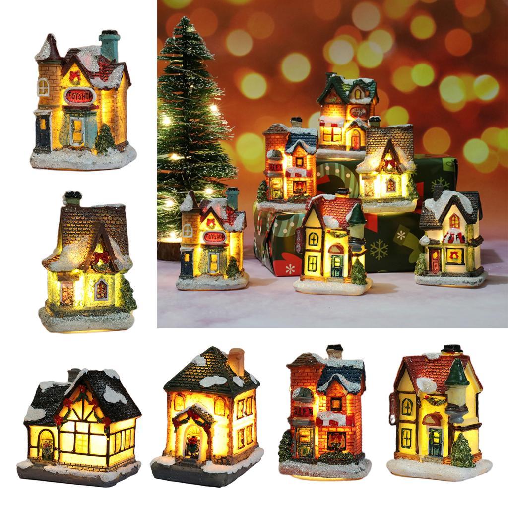 Рождественский светодиодный светильник, деревенский дом, миниатюрные рождественские украшения для дома, рождественские украшения, Рождес...