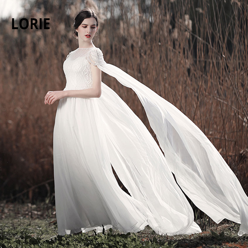 LORIE Wedding Dresses Boho 2019 Chiffon With Beading Bridal Gowns White Ivory Robe Mariage Plus Size Wedding Gowns 100% Real Pic