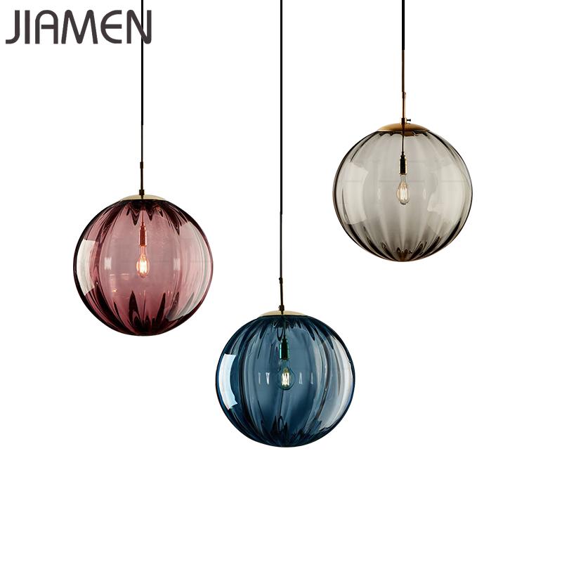 JIAMEN Modern Led E27 Pendant Lamp 20cm Round Glass Hanging Lights For Home Loft Fixtures Living Room Bedroom Luminaires Decor