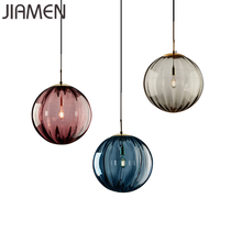 JIAMEN Modern Led E27 Pendant Lamp 20cm Round Glass Hanging Lights for Home Loft Fixtures Living Room Bedroom Luminaires Decor modern nordic rose plant pendant lights led glass hanging lamp for home decor luminaires dining room living room light fixtures