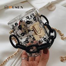 Fashion Mini Clear Barrel-shaped Acrylic Crossbody Bags Wome
