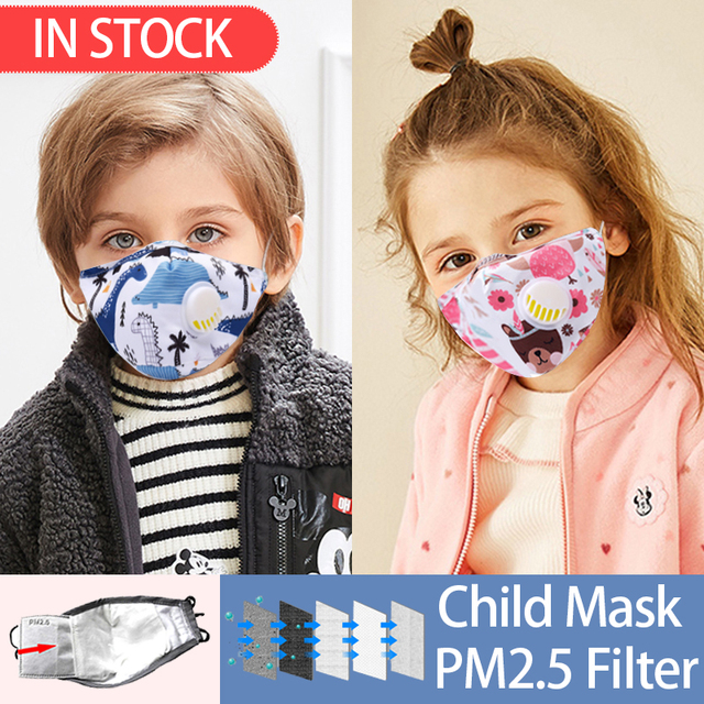 PM2.5 Face Mask Kids  Mask Cute Breathable Valve Mouth Mask Filter Pad Pollution Activated Carbon Filter Summer Cotton Masks 1