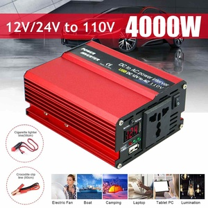 3000/4000W Watt DC 12V to AC 110V Portable Car Power Inverter Charger Converter Adapter DC 12 to AC 110 Modified Sine Wave