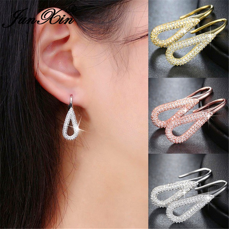 Luxury Crystal Water Drop Dangle Earrings For Women White Gold Rose Gold Color Bridal Wedding Earrings Engagement Female Jewelry