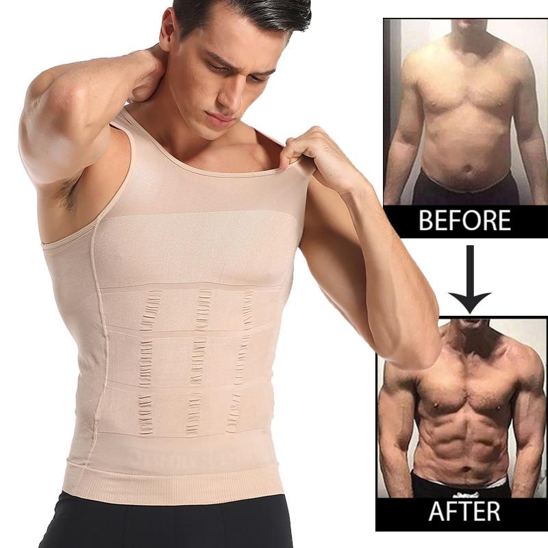 Be-In-Shape Men Slimming Body Shaper Waist Trainer Vest Tummy Control Posture Shirt Back Correction Abdomen Tank Top Shaperwear