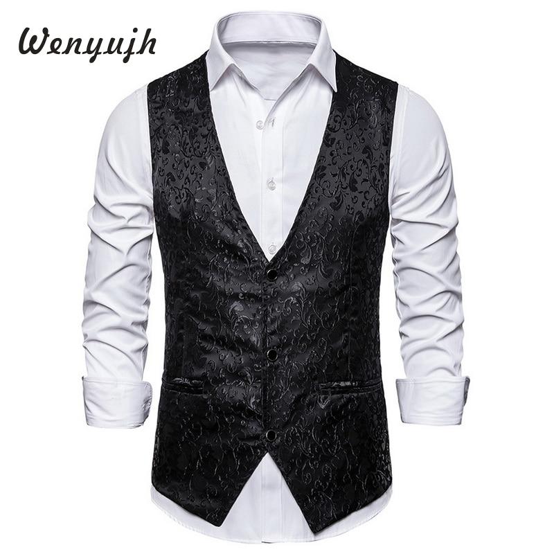 Wenyujh 2019 Luxury Gold  Print Steampunk Vest Men Brand Night Club Prom Suit Vest Men Waistcoat Wedding Formal Vests Men