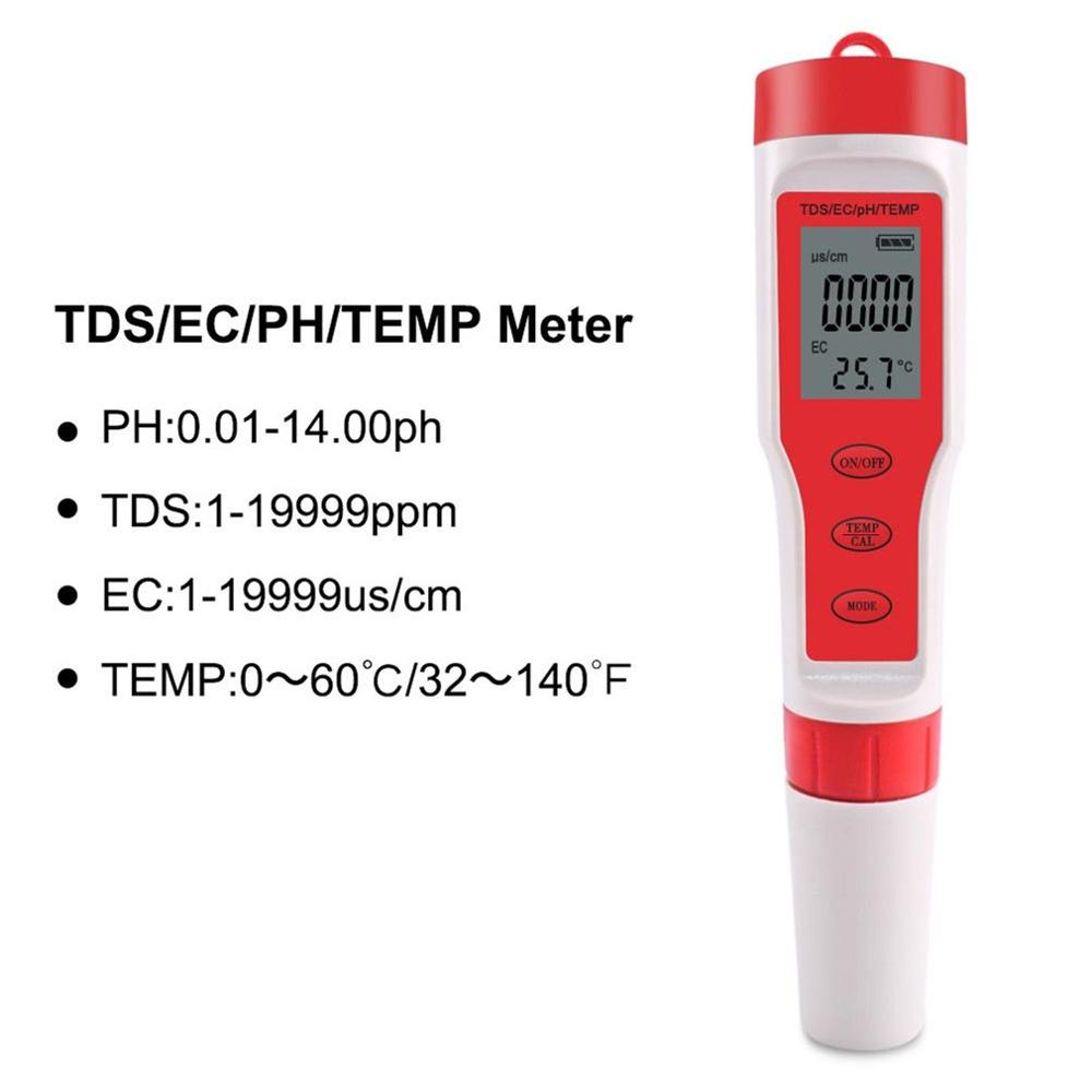 PH Meter 4 In 1 PH/TDS/EC/Temperature Meter Digital Water Quality Monitor Tester Detector For Pools Drinking Water Aquariums