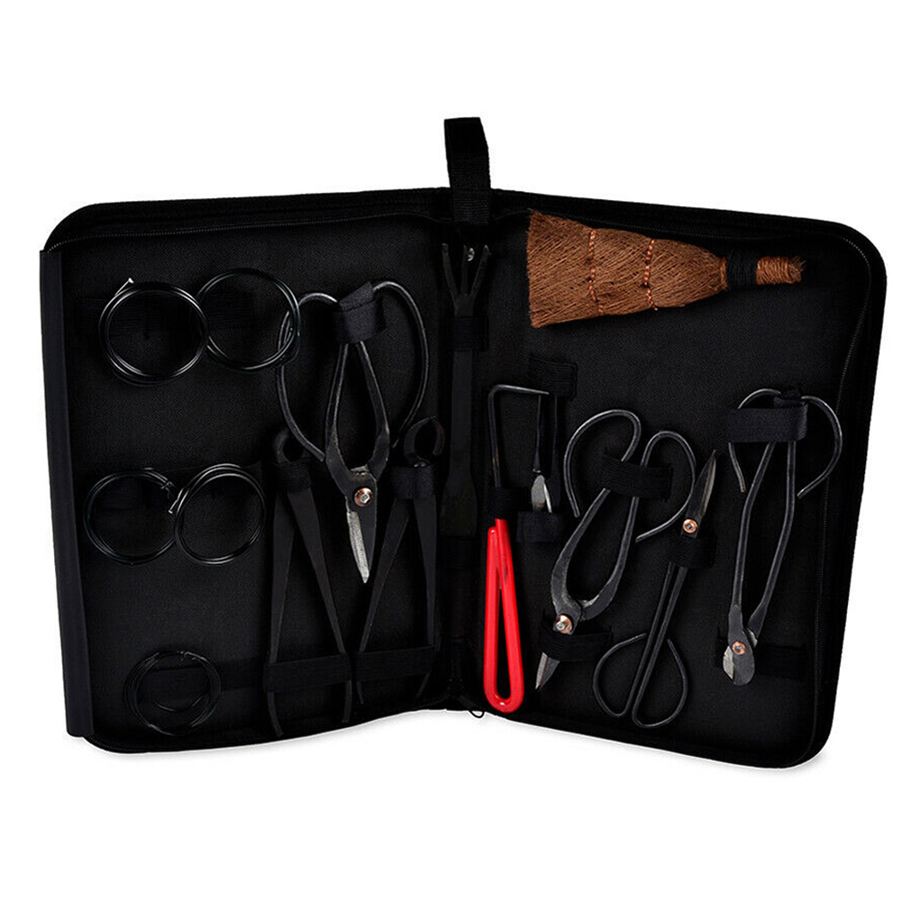 Complete Garden Bonsai Tool Set Carbon Steel Kit Cutter Durability Portability Scissors With Nylon Case For Bonsai Lovers TP899