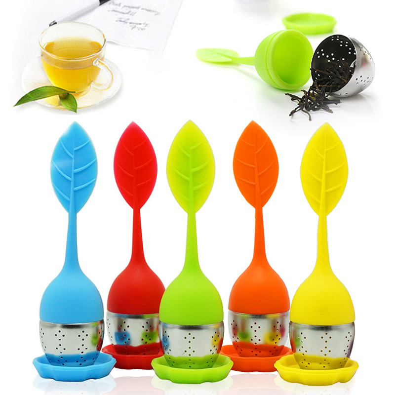 مصفاة الشاي Infuser أدوات ورقة سيليكون مع الغذاء الصف جعل كيس شاي مرشح الشاي تسرب مصفاة teبينة المنزل اكسسوارات المطبخ