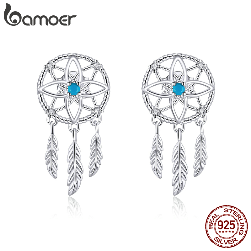 Bamoer Bohemian Style 925 Sterling Silver Dream Catcher Dangle Earrings For Women Feather Ear Drop Silver Brincos BSE339