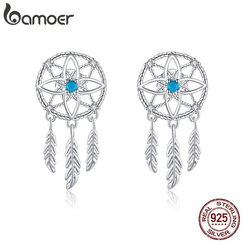 Bamoer Bohemian Style 925 Sterling Silver Dream Catcher Dangle Earrings For Women Feather Ear Drop Silver Brincos BSE339