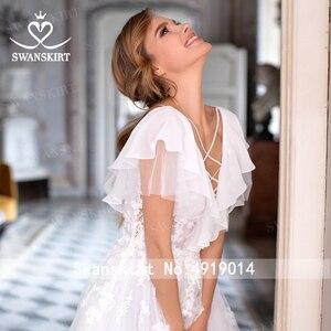 Image 5 - Boho Illusion Wedding Dress V neck Appliques A Line Lace up Court Train Swanskirt D109 Bridal Gown Princess Vestido de novia