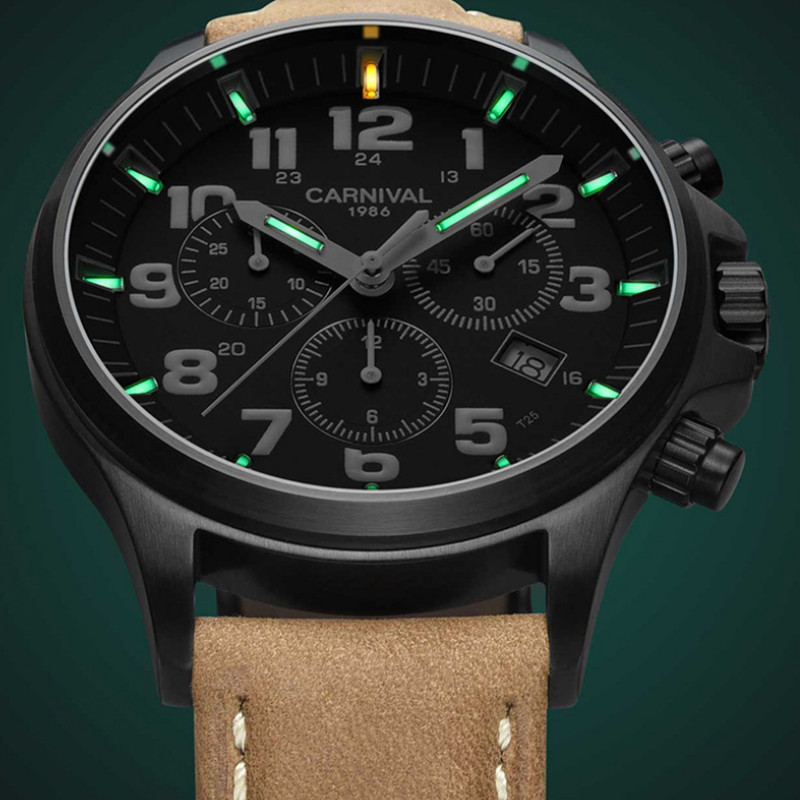 Novel Tritium Cool Guys Super Luminous Quartz Watches for Men Waterproof Designer Sports Wrist watch 3 Eyes Real Leather Watches