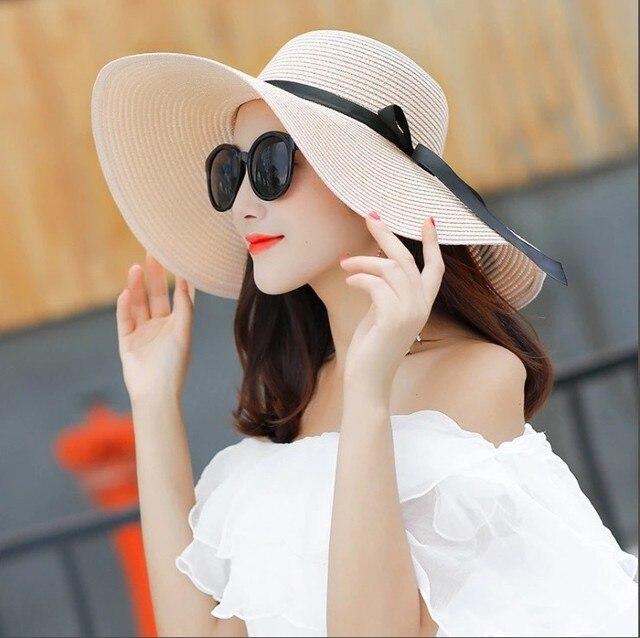 Summer wide brim white straw hats big sun hats for women uv protection panama  floppy beach hats ladies bow hat chapeau femme