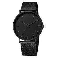 Luksusowy zegarek mężczyźni Mesh ultra-cienki stal nierdzewna czarne zegarki na rękę z paskiem zegarek męski zegar reloj hombre relogio masculino