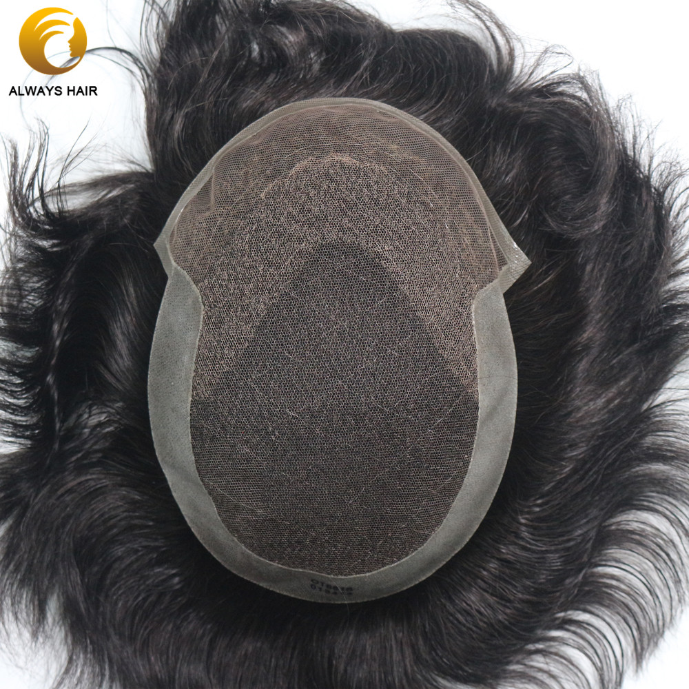 Durable Breathable Mens Toupee French Lace With Poly Coating Indian Human Hair System Men 7 Sizes Hair Nuit
