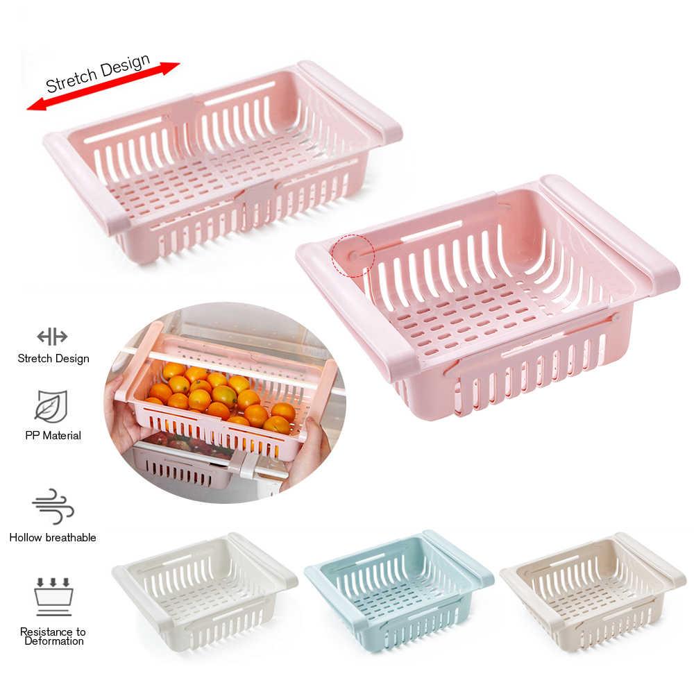 Adjustable Slide Kitchen Fridge Freezer Space Saver Organizer Storage Box Rack Shelf Holder Refrigerator Kitchen Container Box