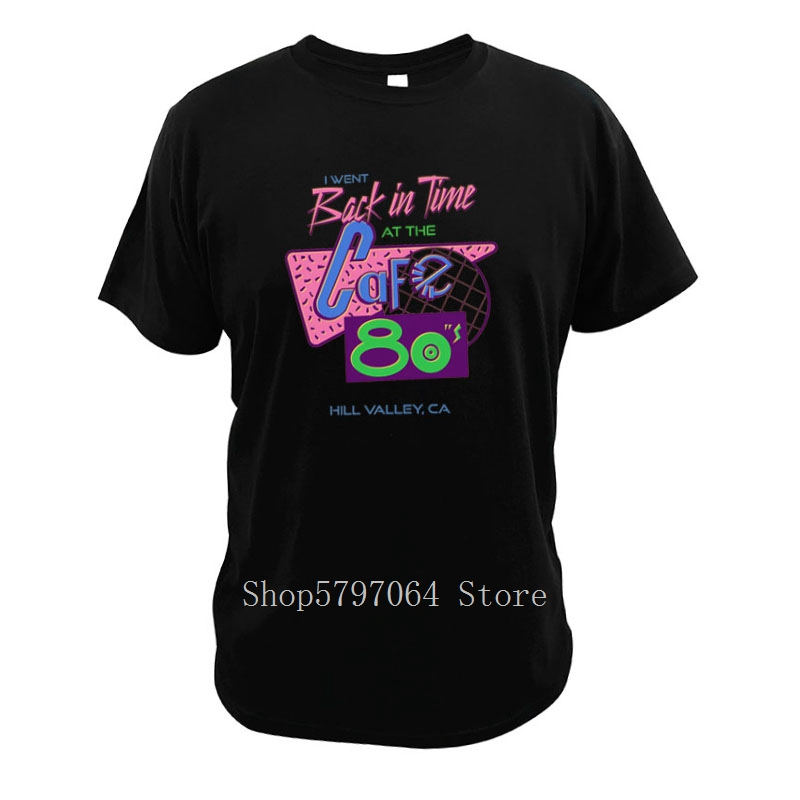 Cafe 80'S T Shirt I Went Back In Time 1980s Movies Size 3XL Memory Cotton Parody Short Sleeve image