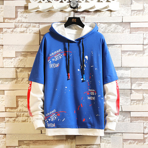 Image 2 - CYXZFTROFL 2019 Men Hoodie Patchwork Trendy Casual Sweatshirt Streetwear Hip Hop Ctudent Male Printed Clothing Pullover Hoodies