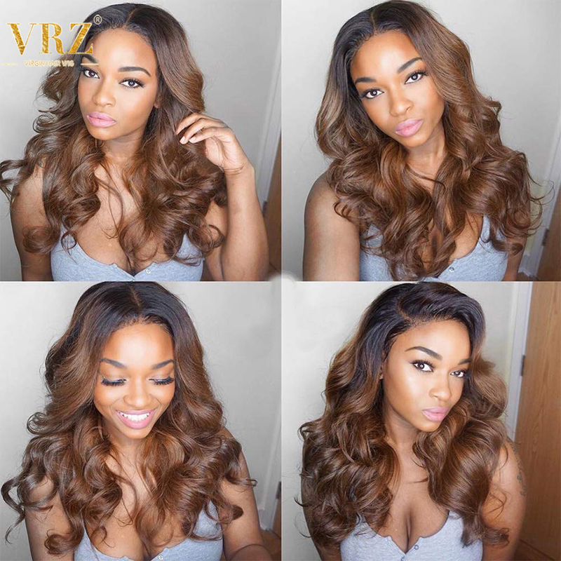 Ombre Color 1B/30 Wavy Lace Front Human Hair Wigs With Baby Hair Pre Plucked 360 Lace Frontal Wig For Women Bleached Knots VRZ