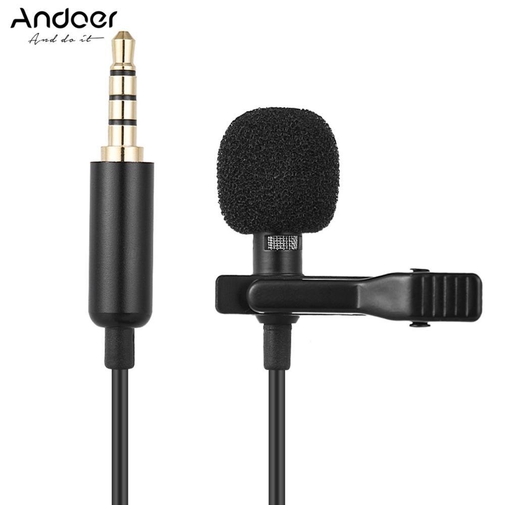 Andoer-Mini micrófono portátil de 1,45 m, pinza de condensador, solapa Lavalier, con cable, Mikrofo/Microfon, para teléfono, portátil