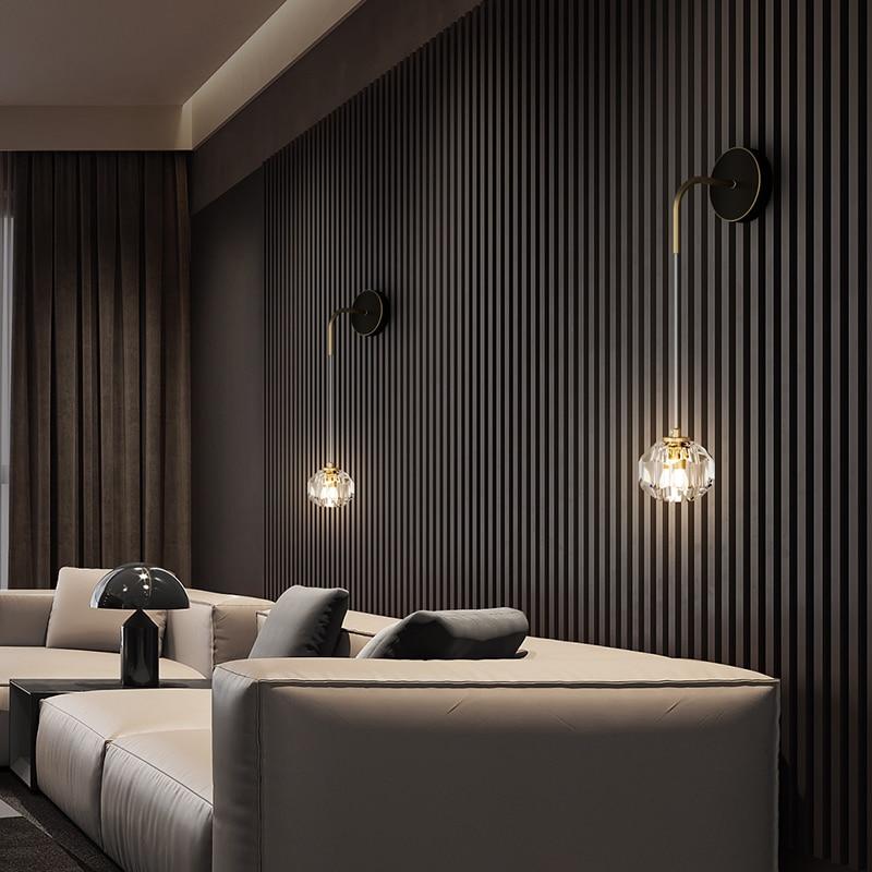 Nordic personalidade lâmpadas de parede cristal cobre ouro decoração interior para cabeceira sala estar fundo tv corredor luz