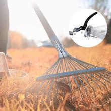 Нержавеющая сталь Регулируемый садовые грабли для листьев Heavy Duty многофункциональные складные грабли сад инструмент без ручки
