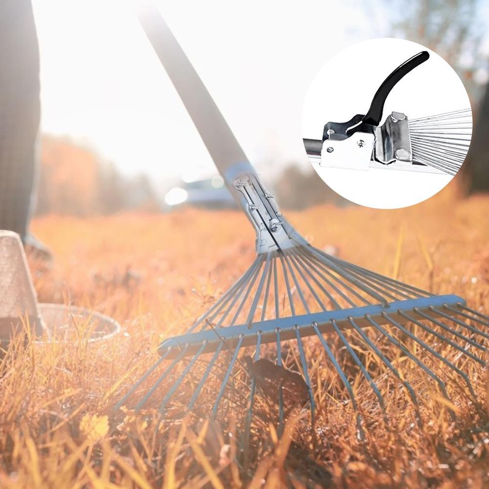 Stainless Steel Adjustable Garden Leaf Rake Heavy Duty Multi-purpose Foldable Rake Garden Tool Without Handle