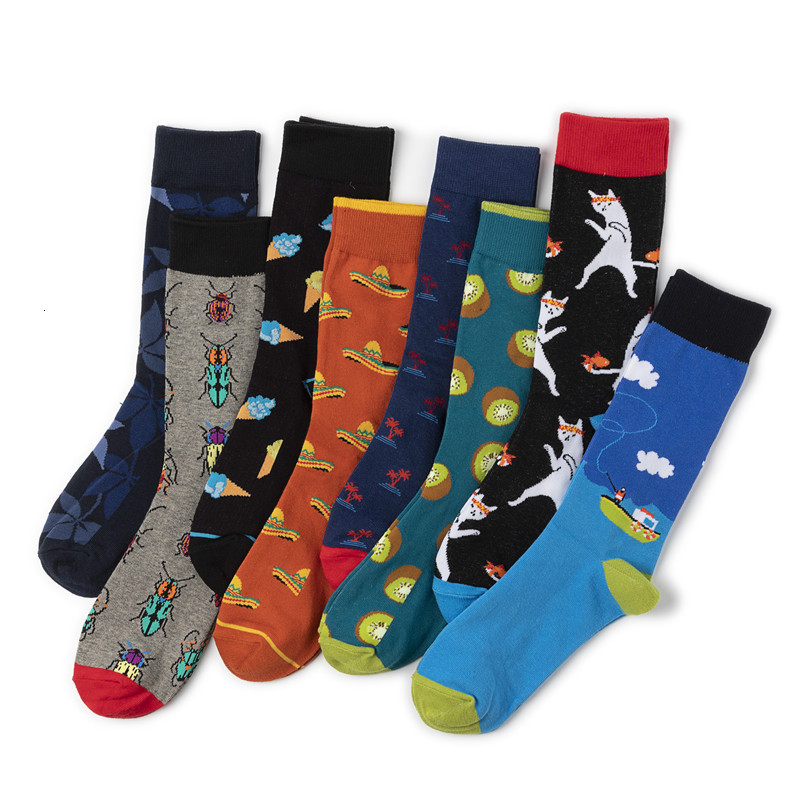 1 Pair Men Socks Combed Cotton Cartoon Animal Insect Cat Printed Calcetines Novelty Funny Happy Socks Calcetines Hombre