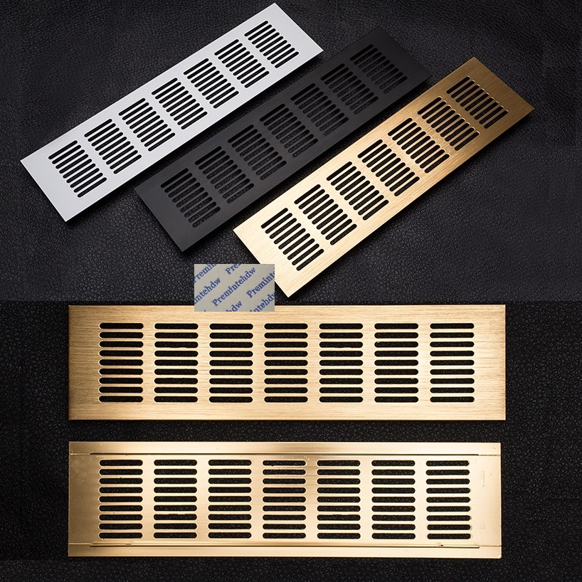 80mm Wide Rectangle Aluminum Alloy Air Vent Ventilator Grille Cover Louvre Closet Shoe Cabinet A/C Brush Gold Matte Black Silver