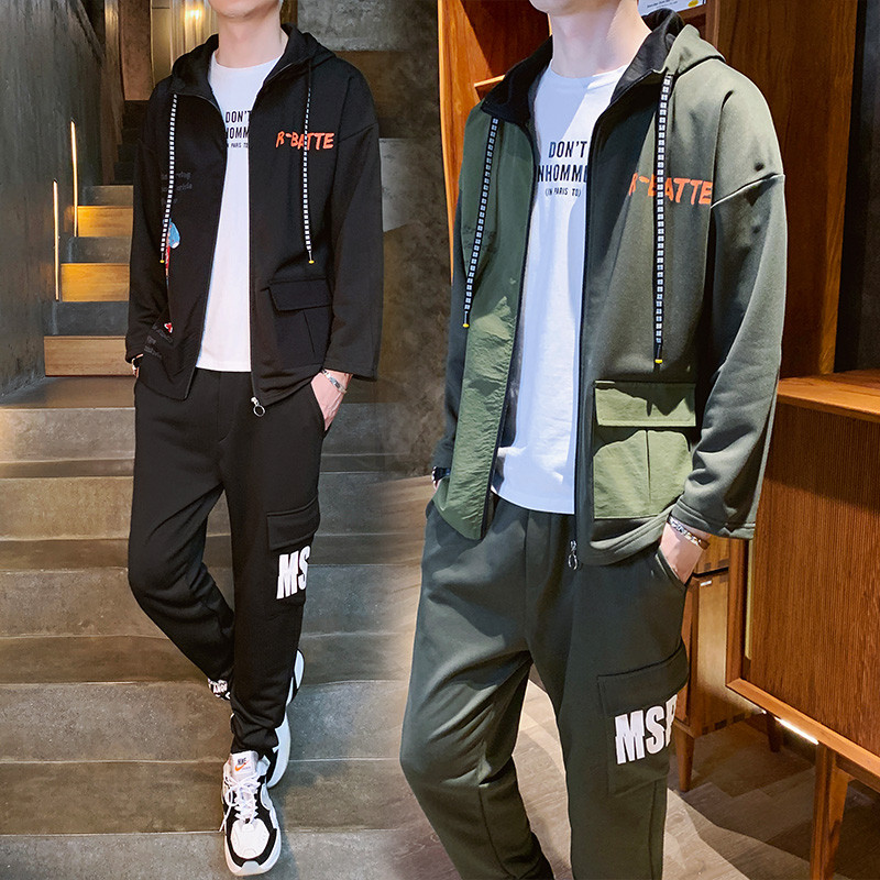 YASUGUOJI New 2019 Spring Autumn Hoodie Sweater Jacket Joggers Sweat Suits Men Jogger Suits For Men Cargo 2 Piece Mens Tracksuit