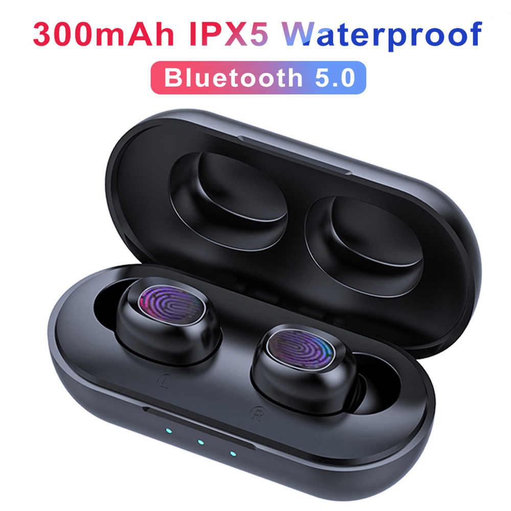 B5 Tws Nirkabel Bluetooth Earphone 5.0 Headphone Kontrol Sentuh Earbud Tahan Air Stereo Musik Headset 300 MAh Power Bank HD MIC