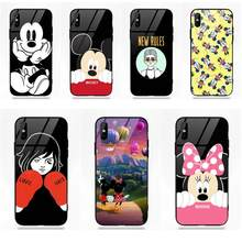 Vvcqod For Apple iPhone 5 5C 5S SE 6 6S 7 8 Plus X XS Max XR Mobile Soft TPU Frame+Tempered Glass Cases Mickey And Minnie Cute(China)