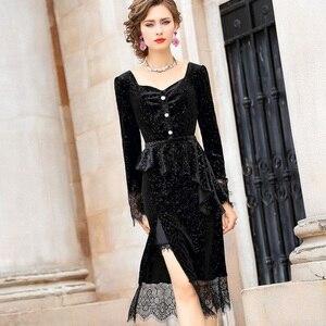 Image 2 - 有名人ドレス春 2019 新しい女性の女性のベルベット長袖レースパーティードレスプラスサイズフォークオープニングヴィンテージセクシーなドレス
