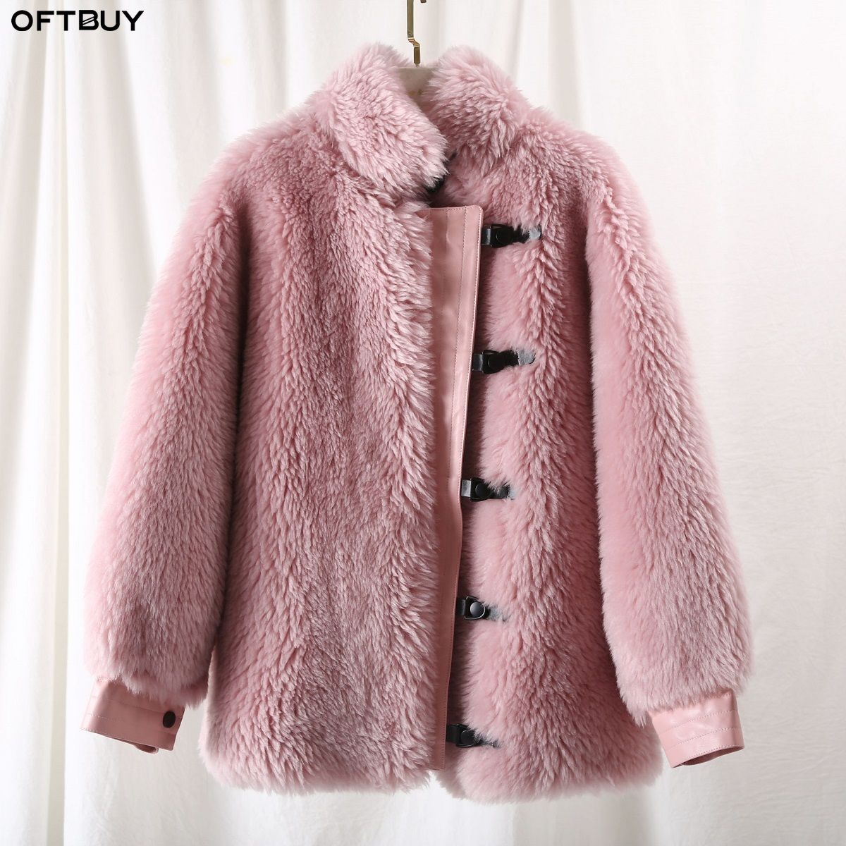 OFTBUY 2019 Winter Jacket Women Real Fur Coat Wool Content Woven Outerwear Female Teddy Polar Fleece Plush Streetwear Fashion