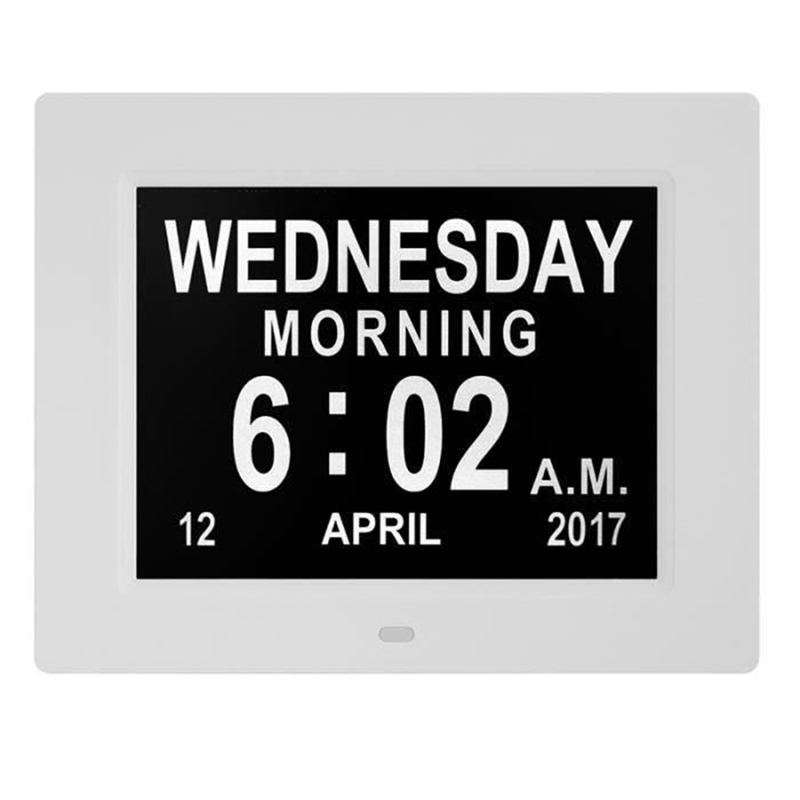 Clock Calendar with Date Day Hour 8 Inch Led Large Police Alarm for Elderly / Alzheimer and Children - White European Plug